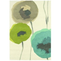 Rug Poppies teal olive